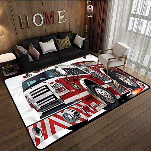 Fire Truck Hooked Rug - 1