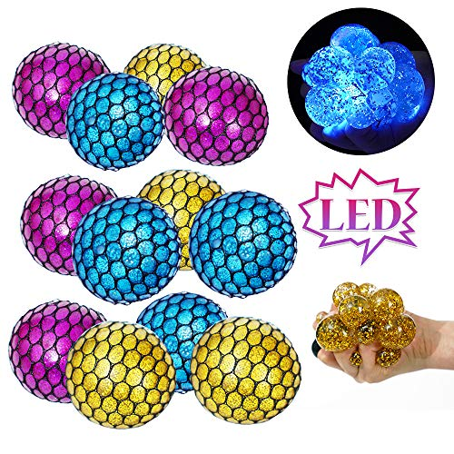 ZGWJ 12Pack Upgrade Large Squeeze mesh Ball LED Stress Balls Glitter Crystal Ball- Home and Office Use Stress Relief Toys for Kids Adults. (led Stress Ball)