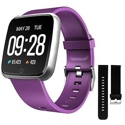 ZKCREATION Smartwatch,Reloj Inteligente Pulsera Actividad con Pulsómetro Podómetro Calorie Monitoreo del sueño Impermeable Relojes Inteligentes para ...