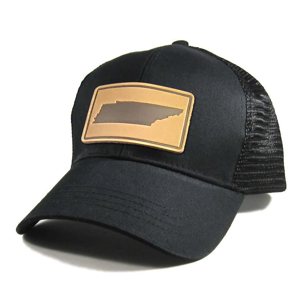 Homeland Tees Mens Tennessee Leather Patch All Black Trucker Hat