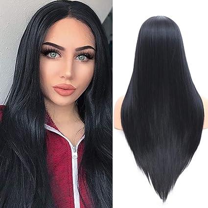 Pelucas largas negras rectas naturales YMHPRIDE para damas, pelo sintético suave, peluca de fibra de aspecto realista, atada a media mano, 22 pulgadas: Amazon.es: Belleza