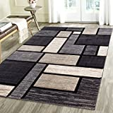 Contemporary Squared Geometric Emerald Collection Carved Area Rug by Rug Deal Plus (7'11'' x 10'4'', Charcoal/Black)