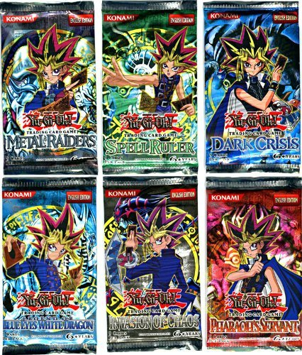 YuGiOh Card Game Lot of 6 Booster Packs Legend Blue Eyes White Dragon, Metal Raiders, Spell Ruler, Invasion of Chaos, Pharaohs Servant Dark Crisis ()