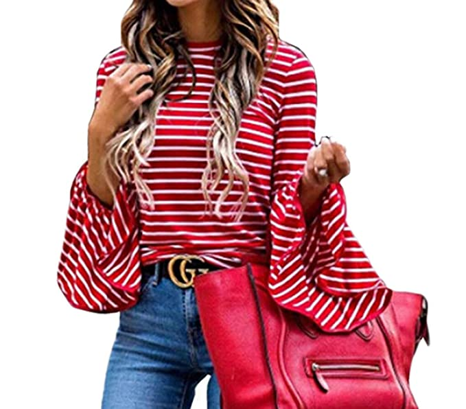 f98038f0fc Tuesdays2 Women Red Stripe Long Sleeve T-Shirt Casual Flare Sleeve Tops (S,