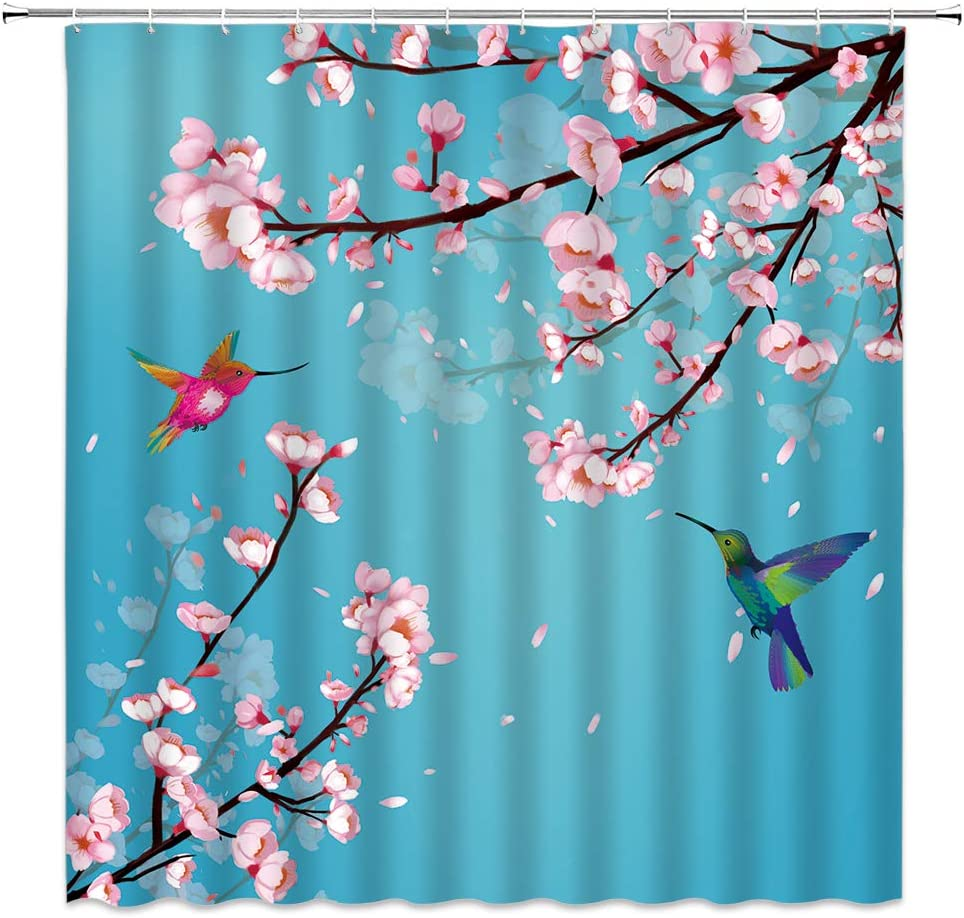 Japanese Sakura Shower Curtain Burgeoning Cherry Tree Hummingbird in The Wind Asian Antique Garden Art Decor,Fabric Bathroom Set Hooks Included 70x70 Inch,Blue Pink