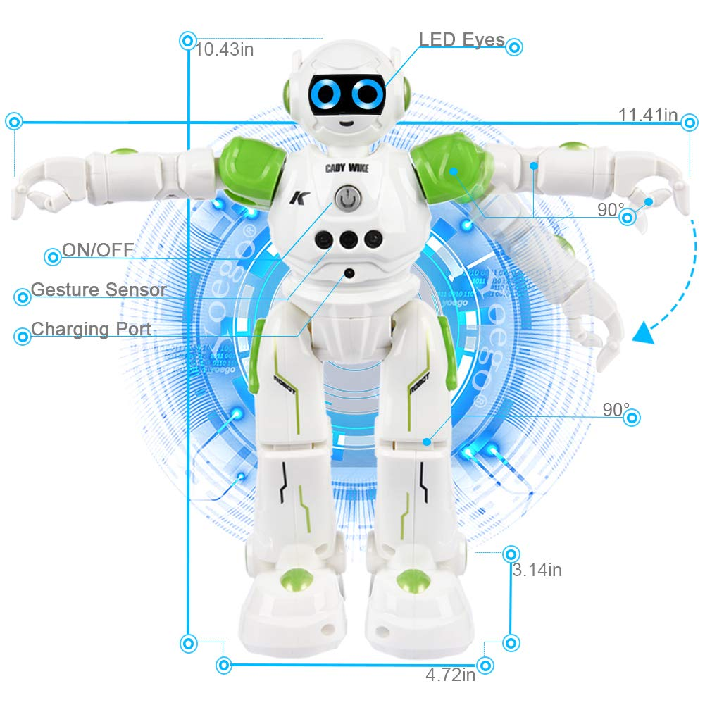 Yoego Remote Control Robot, Gesture Control Robot Toy for Kids, Smart Robot with Learning Music Programmable Walking Dancing Singing, Rechargeable Gesture Sensing Rc Robot Kit (Green) by Yoego (Image #3)