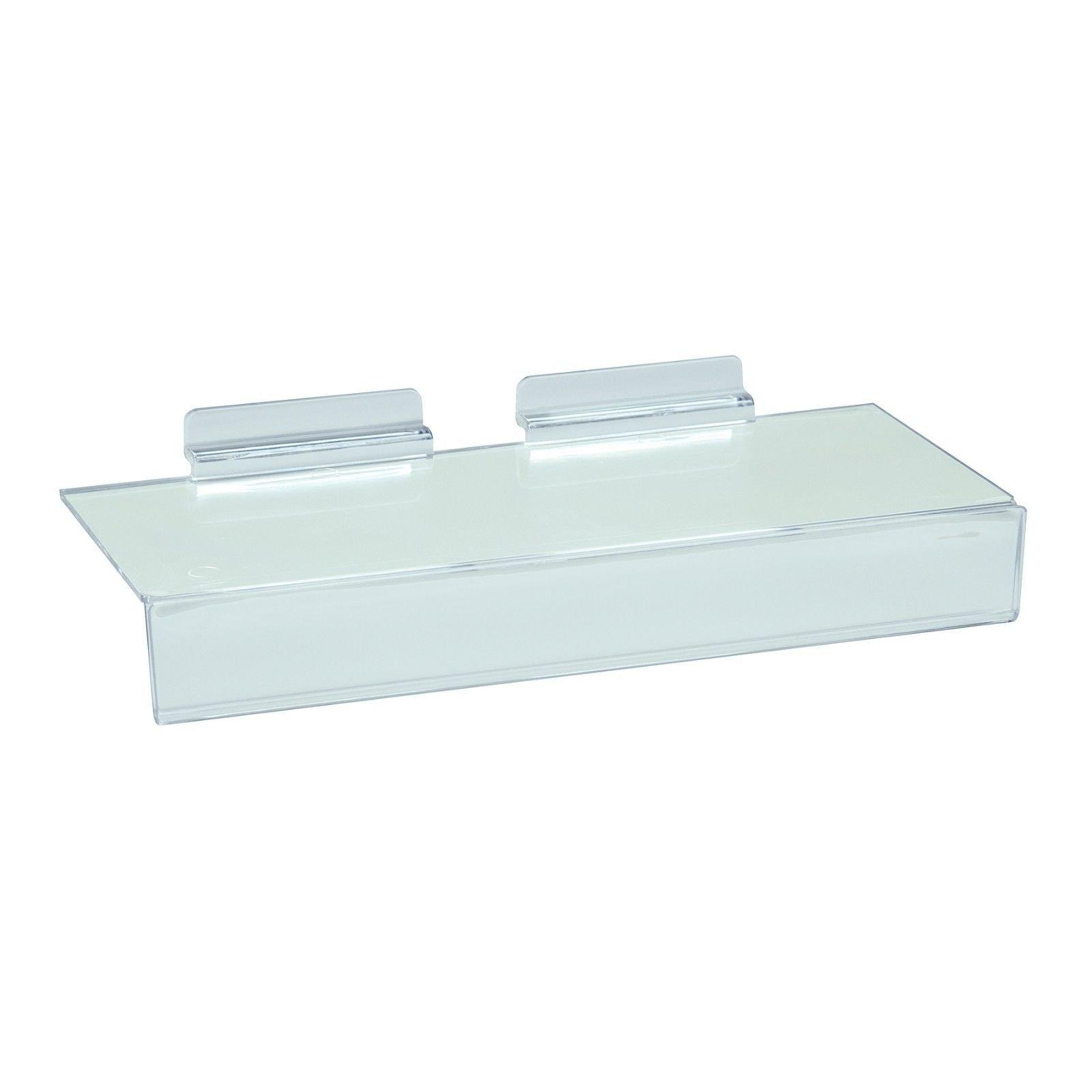 Slatwall Flat Clear Acrylic Shoe Shelf w/ 1.25'' H x 10'' L Sign Holding Slot, 4'' D x 10'' L, 20 Pack