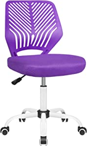 BOSSIN Kids Desk Office Chair for Teens Computer Mesh Chair with Low-Back Armless Adjustable Swivel Ergonomic Home Office Student Chair Black White (Purple)