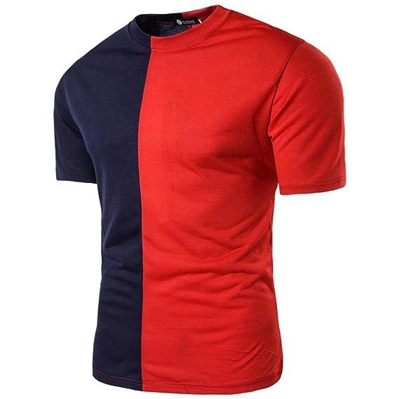 Yvelands Color Block T-Shirt Personalidad de los Hombres Moda Casual O-Cuello Slim