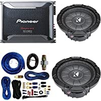 Pioneer 4 Gauge 1600W Monoblock Class-D Car Amplifier Kicker 12 Single 4 ohm Shallow-Mount Car Subwoofer And 4 Gauge Amp Kit