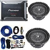 Pioneer 4 Gauge 1600W Monoblock Class-D Car Amplifier Kicker 12'' Single 4 ohm Shallow-Mount Car Subwoofer And 4 Gauge Amp Kit