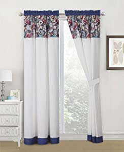 WPM WORLD PRODUCTS MART 4 Pieces Curtain Set: Paisley Print Purple Whiet Color Luxury Panels Drapes with tie Backs for Bedroom Windows- Gina