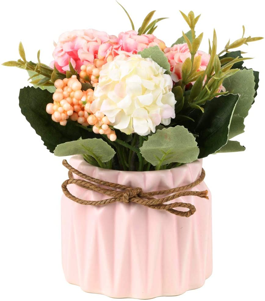 SUPNIU Artificial Hydrangea Bouquet with Small Ceramic Vase Fake Silk Variety Flower Balls Flowers Decoration for Table Home Party Office Wedding (Pink)