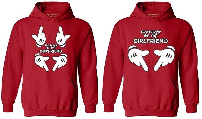 fba3717479 Awkwardstyles Matching Couple Property of My Boyfriend & Girlfriend Hoodies  Red Men Large/Ladies Small