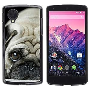 Be Good Phone Accessory // Dura Cáscara cubierta Protectora Caso Carcasa Funda de Protección para LG Google Nexus 5 D820 D821 // Pug Puppie Sad Tiny Dog Breed Canine