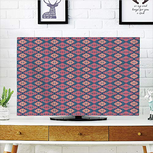 iPrint LCD TV Cover Lovely,Geometric,Ethnic Retro Style Tile Optical Illusion Effect Abstract Graphic Design Decorative,Coral Peach Blue,Diversified Design Compatible 37