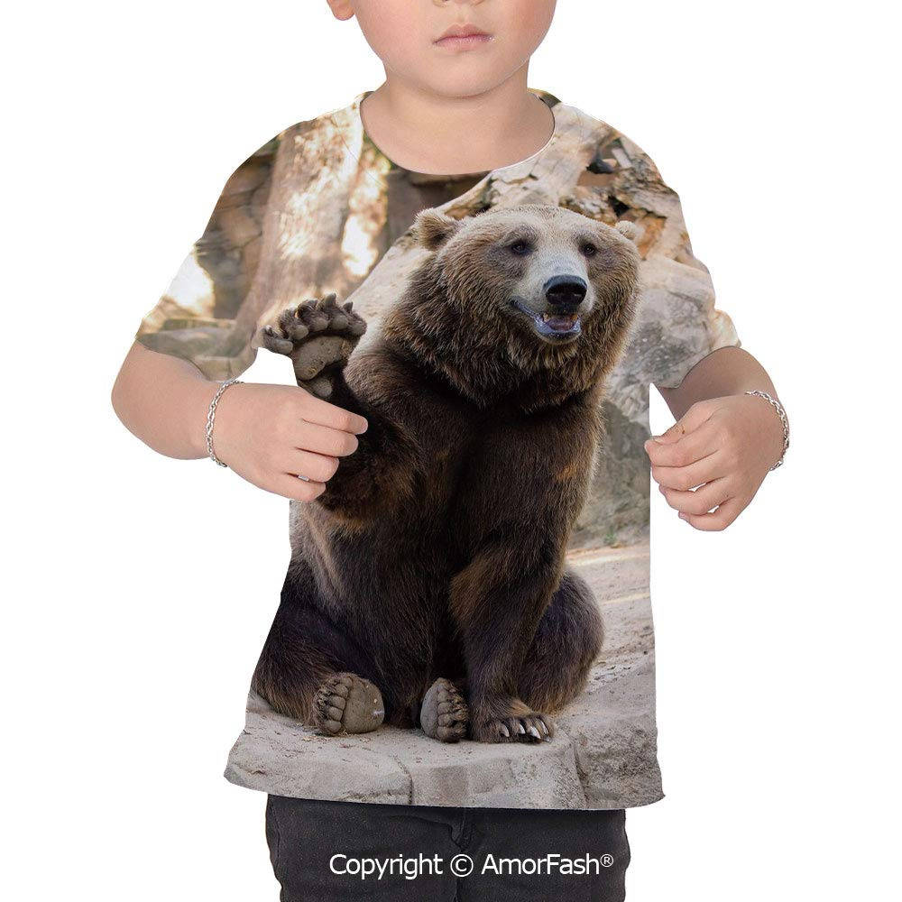 Bear Girl Regular-Fit Short-Sleeve Shirt,Personality Pattern,Friendly Animal Sit
