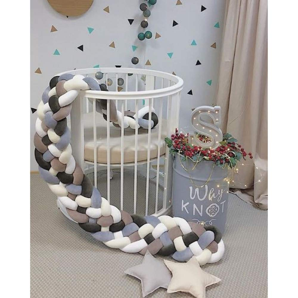 Length:220cm//360cm//420cm//custom Made Wanguo Cot Bed Bumper Braid Pillow Nursery Decorations Braided Bumper for Crib