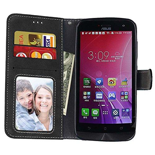YHUISEN Retro estilo sólido color Premium PU cuero cartera de la caja Flip Folio cubierta de la caja protectora con ranura para tarjeta / soporte para Asus ZenFone Max ZC550KL ( Color : Rose ) Black