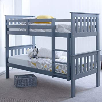 Grey Pine Bunk Bed Happy Beds Atlantis Wood Traditional Twin