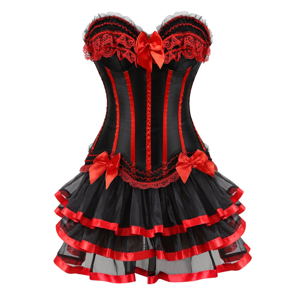 Grebrafan Striped Push up Corsets with Multi Layer lace Skirt CAZS-8068+3704
