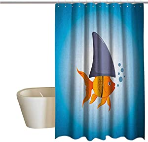 Shark Cool Shower Curtain Rustic Little Goldfish Wearing A Shark Fin to Scare Predators Success Concept Bathroom Decor Durable W55 x L72 Inch Violet Blue Grey Orange
