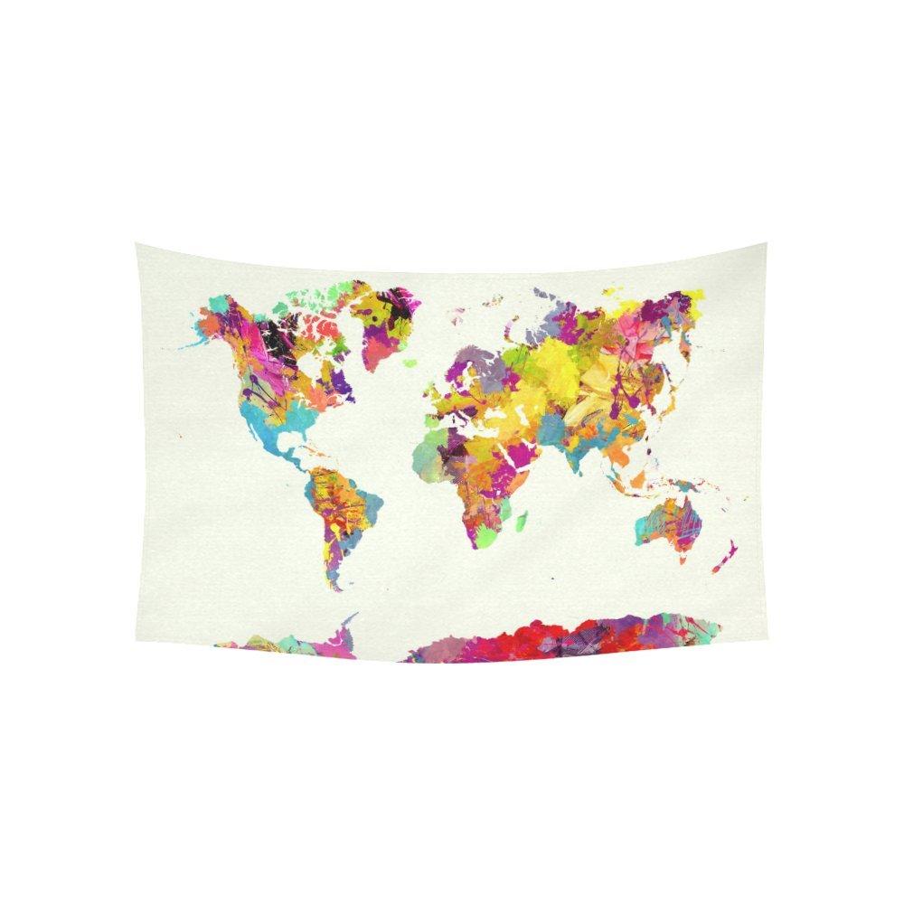 Custom Home Decor Wall Art World Map Cotton Linen Wall Tapestry 60'' X 40''