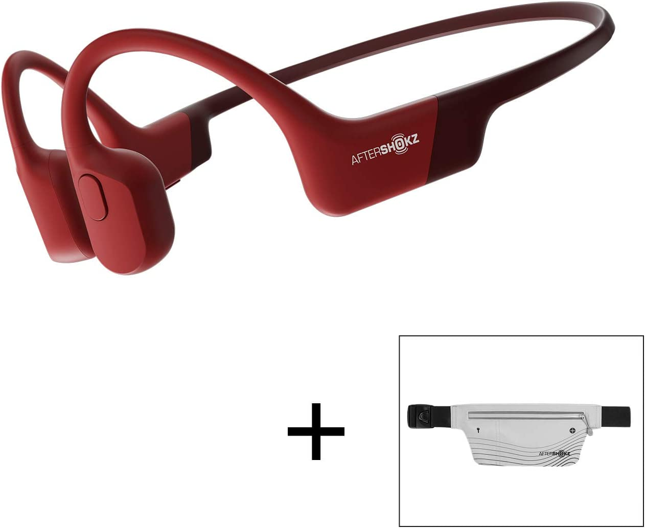 AfterShokz Aeropex Open-Ear Wireless Bone Conduction Headphones with Sport Belt, Solar Red, 2.3