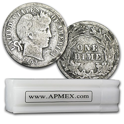 1892-1916 90% Silver Barber Dimes 50-Coin Roll Good/Better Dime Good