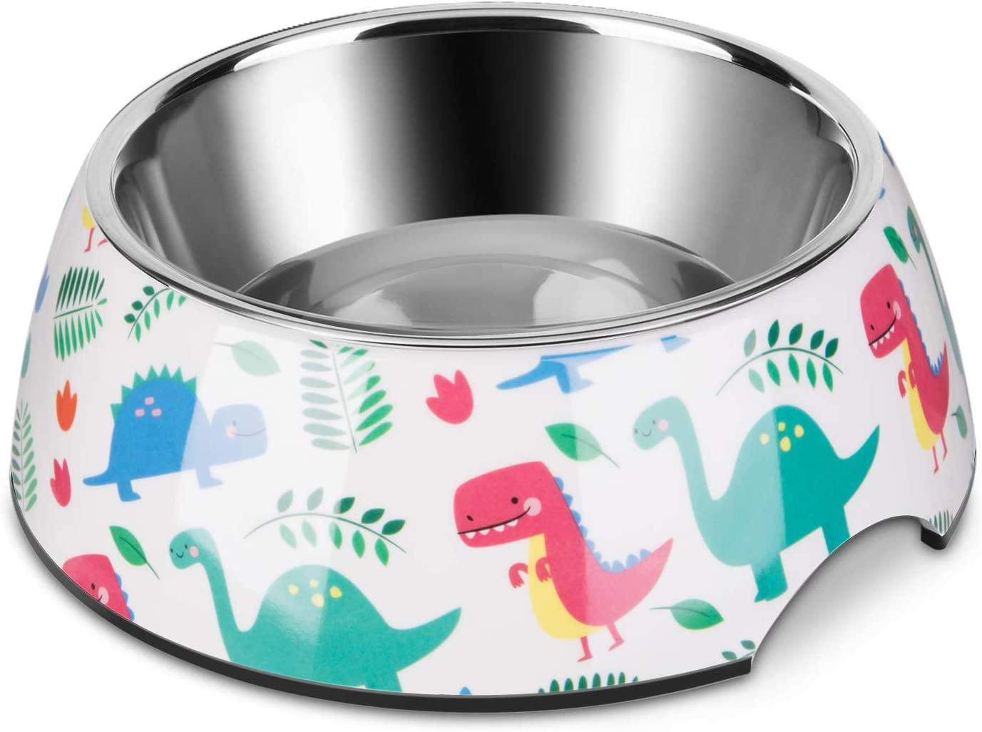 Flexzion Stainless Steel Dog Bowl Cat Dish - Anti-Slip Slip Resistant Rubber Base Pet Feeder, Dishwasher Safe & Rust Resistant with Removable Food Water Holder 24 Fl Oz