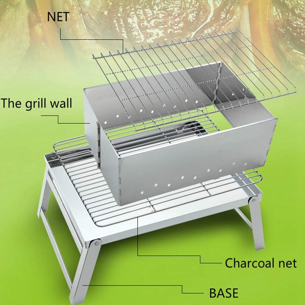 Olydmsky Campinggrill Metall Edelstahl Einfach Picknick Zu Hause Grill Tragbare Faltung Grill Holzkohle Carbon-Ofen Grill