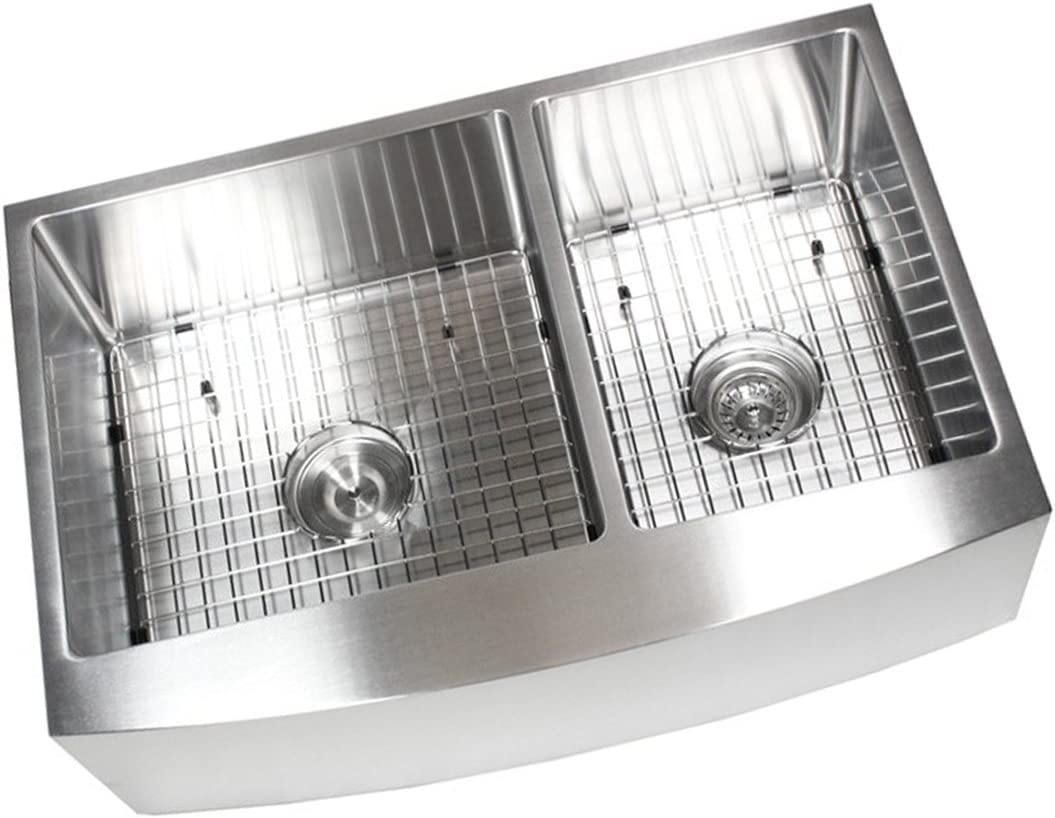 33 Inch Farmhouse Apron Front Stainless Steel Kitchen Sink Package  16 Gauge Curved Front Double Bowl Basin  Complete Sink Pack  Bonus Kitchen Accessories