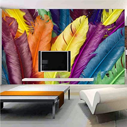 Amazoncom Hwhz Custom Photo Wall Paper 3d Colour Feathers