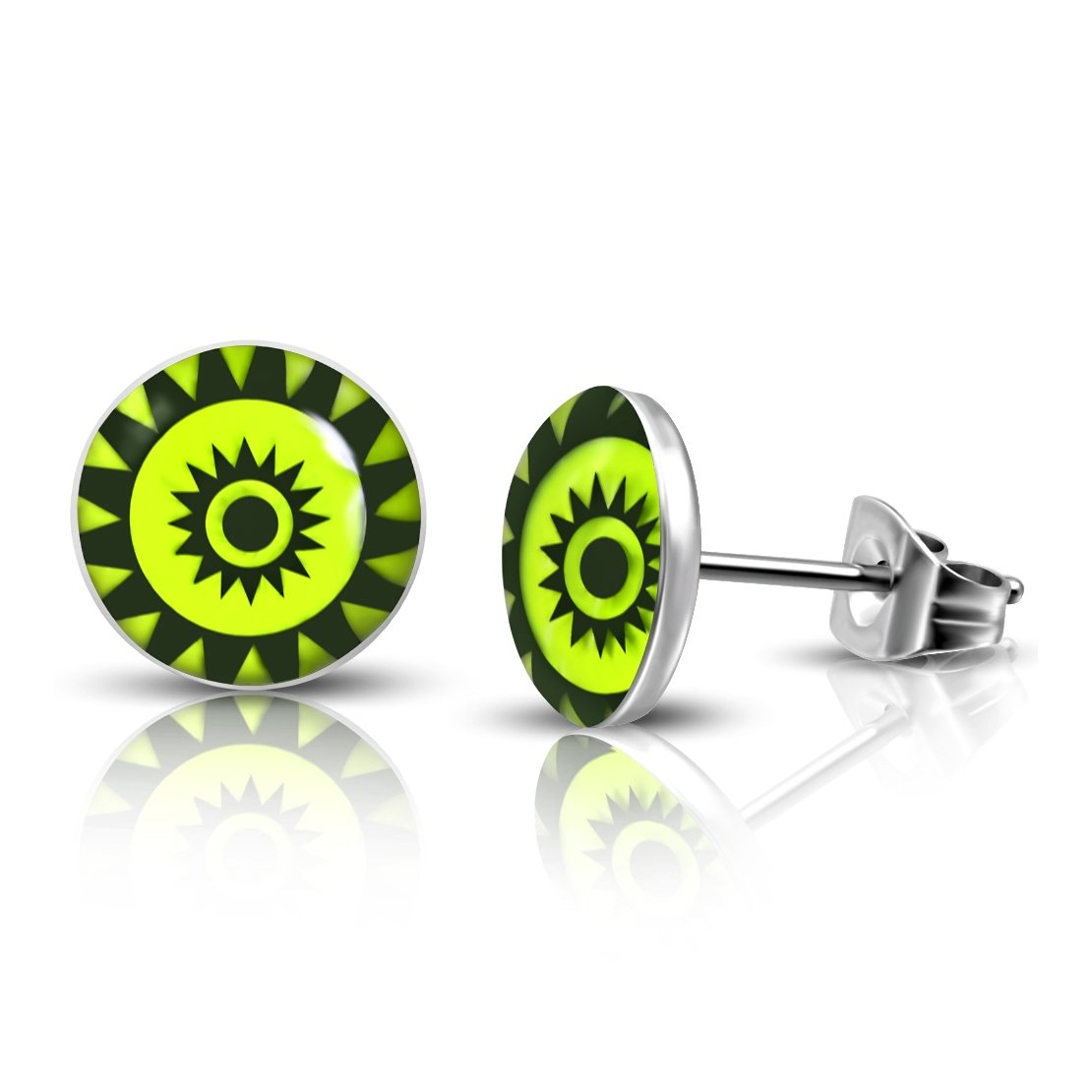 Pair Stainless Steel 3 Color Concentric Sun-Emblem Lemon Green Circle Stud Earrings