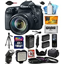 Canon EOS 70D Digital SLR Camera with 18-135mm STM Lens includes 16GB Memory + Large Case + Tripod + Flash + LED Video Light + Two Extra Batteries + Travel Charger + Lens Hood + UV-CPL-FL Filters +