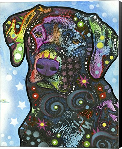 Dog on Blue by Dean Russo Canvas Art Wall , Museum Wrapped