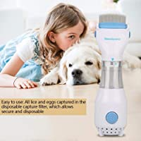 Automatic Head Lice Eliminator Safe Electric Cleaner Treatment for Pet Electric Lice Comb (White, V-Comb Size: Approx. 8.46x2.56x2.56inch,)