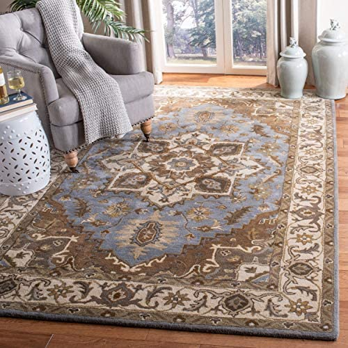 Safavieh Royalty Collection ROY700M Handmade Wool Area Rug, 8 x 10 , Light Blue Beige