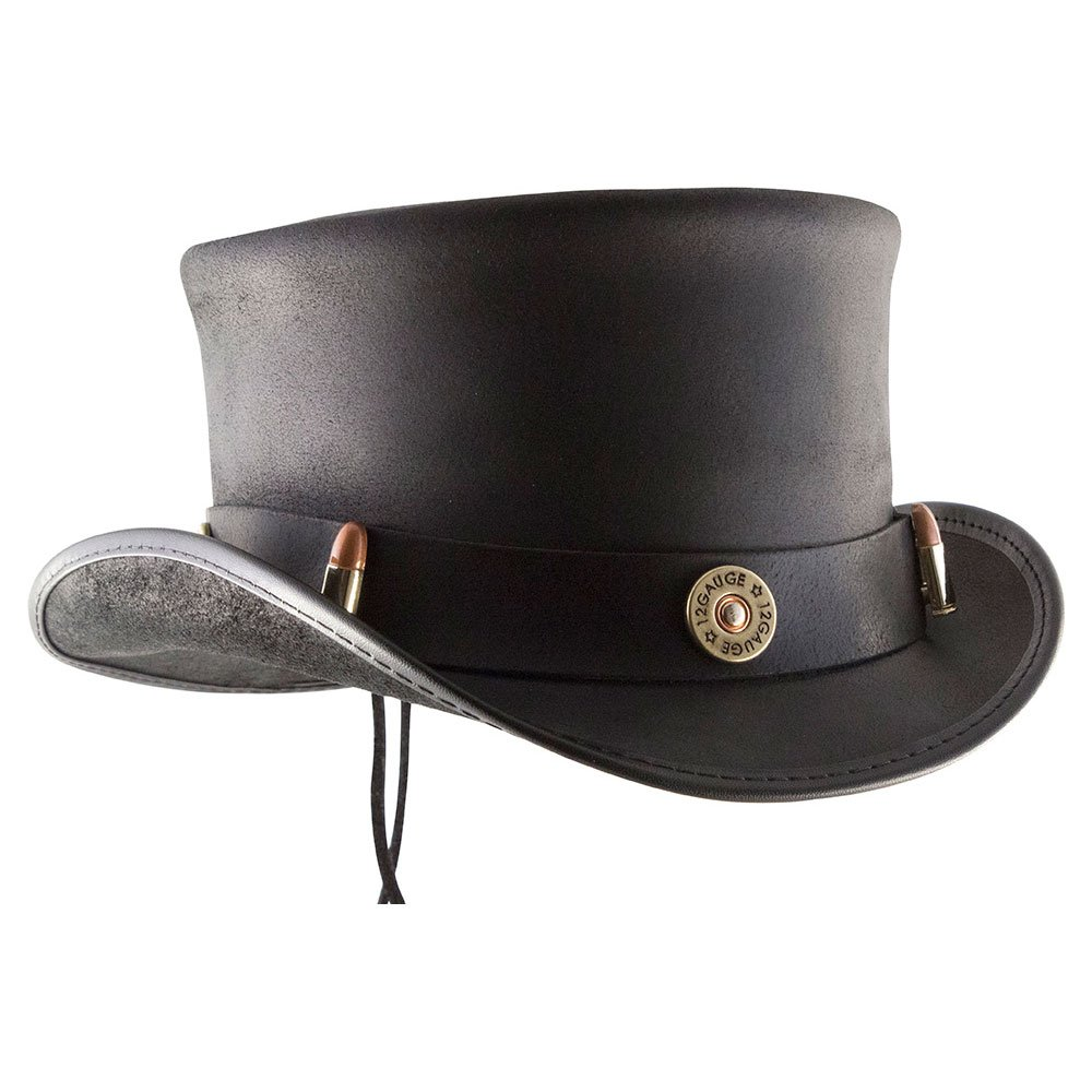 American Hat Makers EL Dorado-Bullet Band by Voodoo Hatter Leather Top Hat, Black Finished-Bullet Band - Small