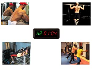 Eu 1.5 6 Digits Interval Timer Programmable Led Countdown / Up Stopwatch For Home Gym. (Color: Green&RED)