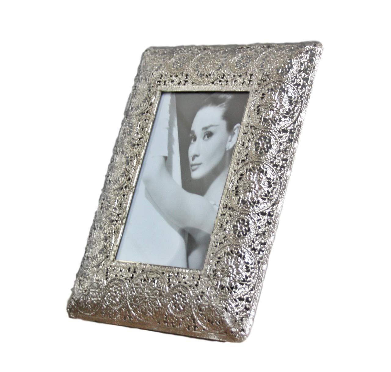 23x18x15 B elbm/öbel Bilderrahmen Metall silber Orientalisch antik Rahmen Fotorahmen Standrahmen Wandrahmen