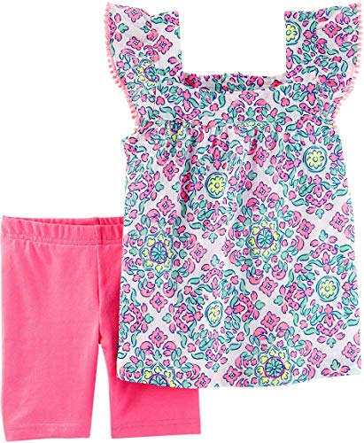 Carters Infant Girls Pink Pastel Baby Outfit Floral Shirt & Pink Shorts Set