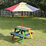 KID'S PICNIC TABLE AND PARASOL SET