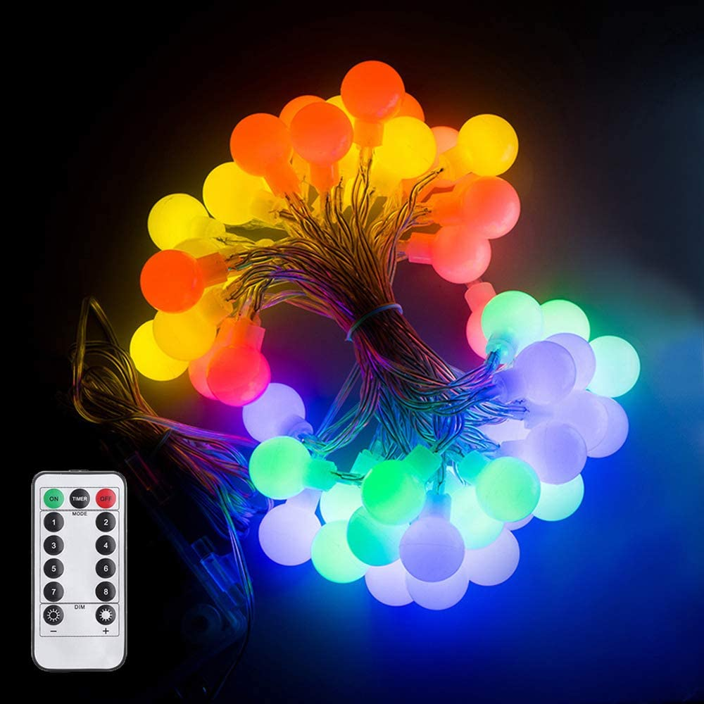 HLLKYYLF Globe String Lights, 25.5ft 50 LED Waterproof Ball String Lights with Remote Control, Battery Powered Fairy String Lights for Indoor and Outdoor Use, Decor for Party, Christmas(Multi Color)