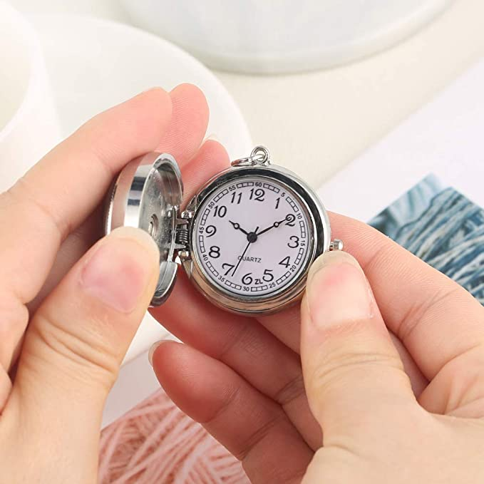 Reloj de Bolsillo de Cuarzo con Caja Plateada, práctico ...