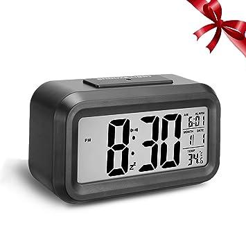 Pemukiten Reloj Despertador Digital, LCD Pantalla grande inteligente alarma,Pantalla de Fecha y Temperatura