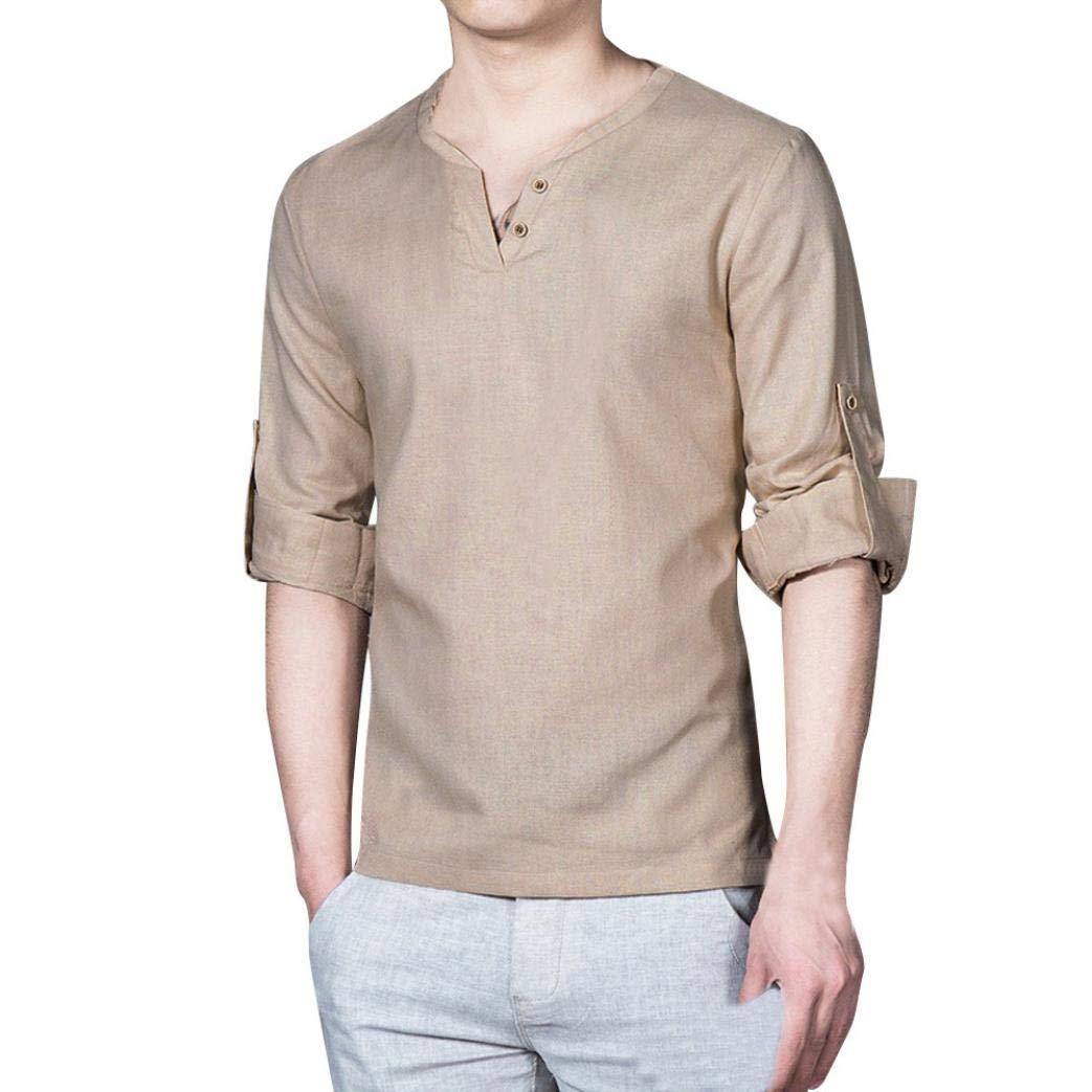 WWricotta LuckyGirls Camisetas para Hombre Camisa de Manga Larga Suelto Lino Cuello en V Casual Moda Poleras Polo Remeras Streetwear