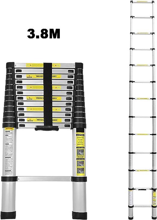Escalera telescópica de aluminio 3,8M escalera plegable escalera ...