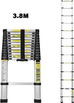Escalera telescópica de aluminio 3,8M escalera plegable escalera multifunción fácil de transportar capacidad máxima de carga 150 kg: Amazon.es: Jardín