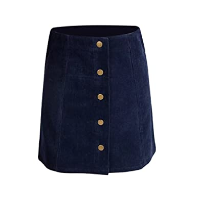 6f3138519 Leezo Women Winter Mini Skirts Petite Vintage Corduroy Button Front A-Line  Skirt (Blue